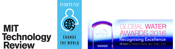 Fortune, MIT Technology and Global Water Awards logos